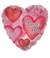"18"" I Love You Watercolor Hearts"