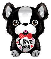 "18"" I Love You French Bulldog Shape"