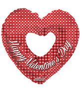 "36"" Happy Valentine's Day Silver Hearts Shape"