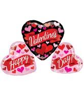 "36"" Valentine's Banner & Hearts Shape Non Foil Balloon"