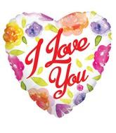 """18"""" Watercolor Love Roses Non Foil Balloon"""