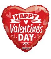 "36"" Happy Valentine's Day Red & White Non Foil Balloon"
