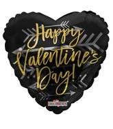 "18"" Happy Valentine's Day Gold With Arrow Foil Balloon"