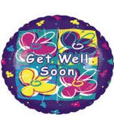 "4"" Floral Get Well Soon Purple Holo Airfill-Only Balloon"