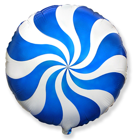 """18"""" Round Candy Peppermint Swirl Blue"""