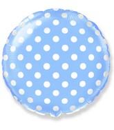 """18"""" Round Polka Dots Balloon Light Blue"""