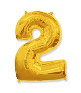 """40"""" Shape Number 2 Gold Balloon"""