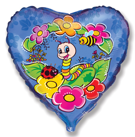 "18"" Worm and Bugs Mylar Balloon"