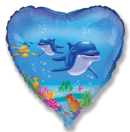 "18"" Happy Dolphin Mylar Balloon"