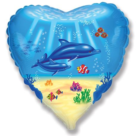 "18"" Dolphin Family Mylar Balloon"