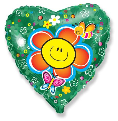 """18"""" Smiley Face Flower  Balloon"""