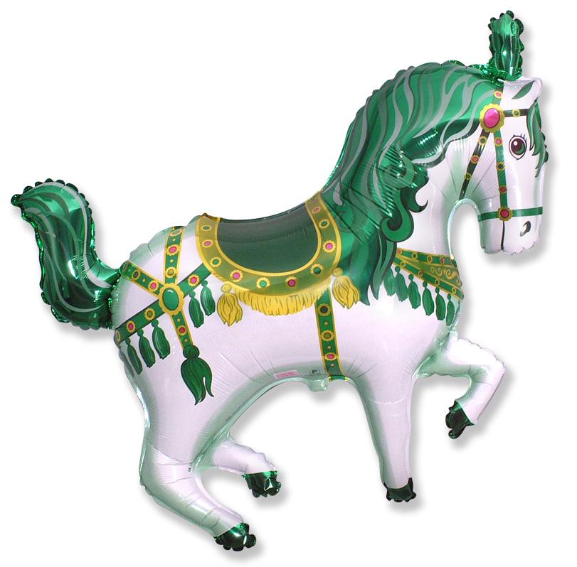 """35"""" Horse Circus Balloon Green"""