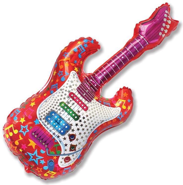 """44"""" Music Jumbo Guitar Balloon Red"""