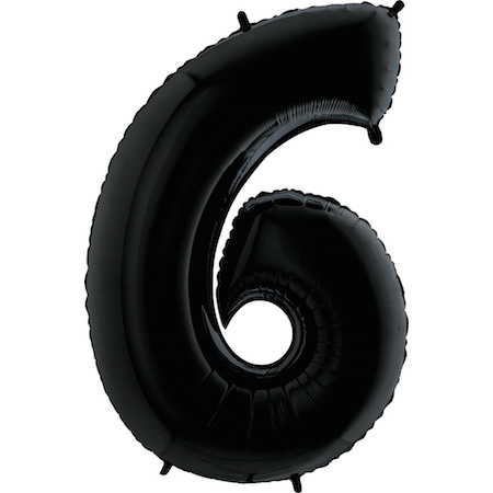 """40"""" Megaloon Foil Shape Polybagged 6 Black Balloon"""
