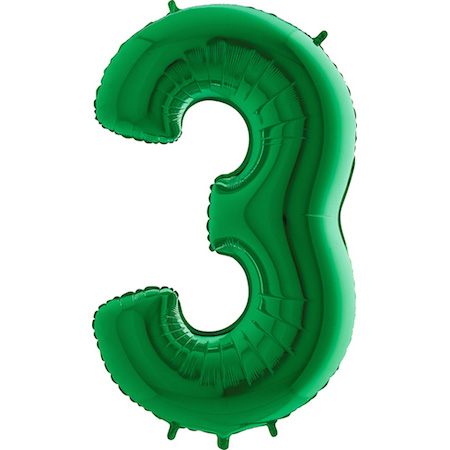 """40"""" Megaloon Foil Shape 3 Green Number Balloon"""