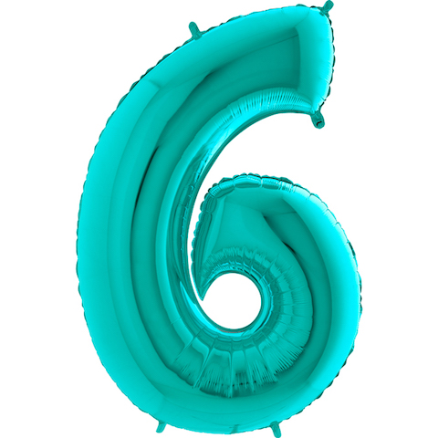 """40"""" Foil Shape Megaloon Balloon Number 6 Tiffany Blue"""