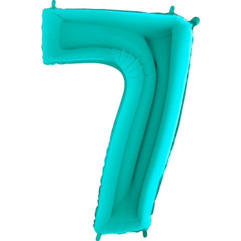 """40"""" Foil Shape Megaloon Balloon Number 7 Tiffany Blue"""