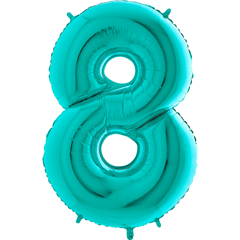 """40"""" Foil Shape Megaloon Balloon Number 8 Tiffany Blue"""
