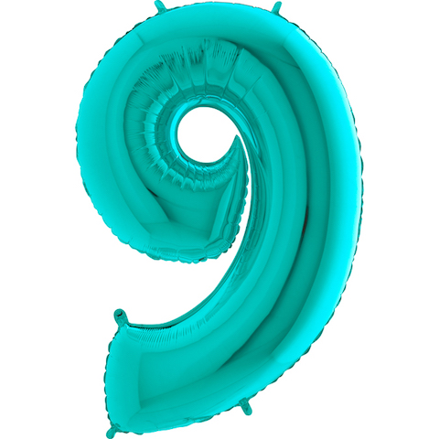 """40"""" Foil Shape Megaloon Balloon Number 9 Tiffany Blue"""
