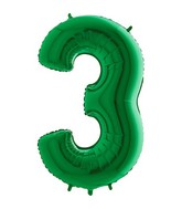 "40"" Megaloon Foil Shape 3 Green Number Balloon"