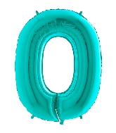 "40"" Foil Shape Megaloon Balloon Number 0 Tiffany Blue"