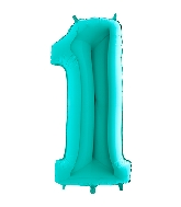 "40"" Foil Shape Megaloon Balloon Number 1 Tiffany Blue"