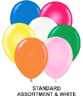 "9"" Assorted Party Style Latex Balloons (100 CT) With White"
