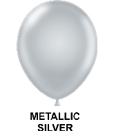 "9"" Metallic Party Style Latex Balloons (100 CT) Silver"