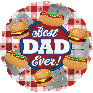 """17"""" Best Dad Ever! Grilling Foil Balloon"""