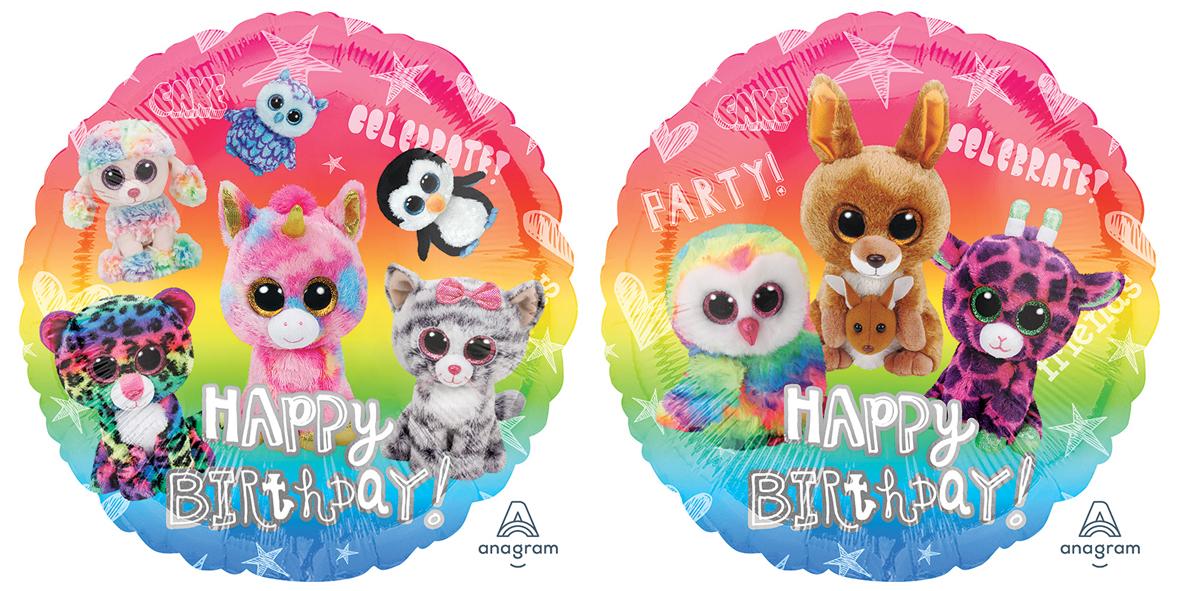 "18"" Beanie Boos Happy Birthday Foil Balloon"