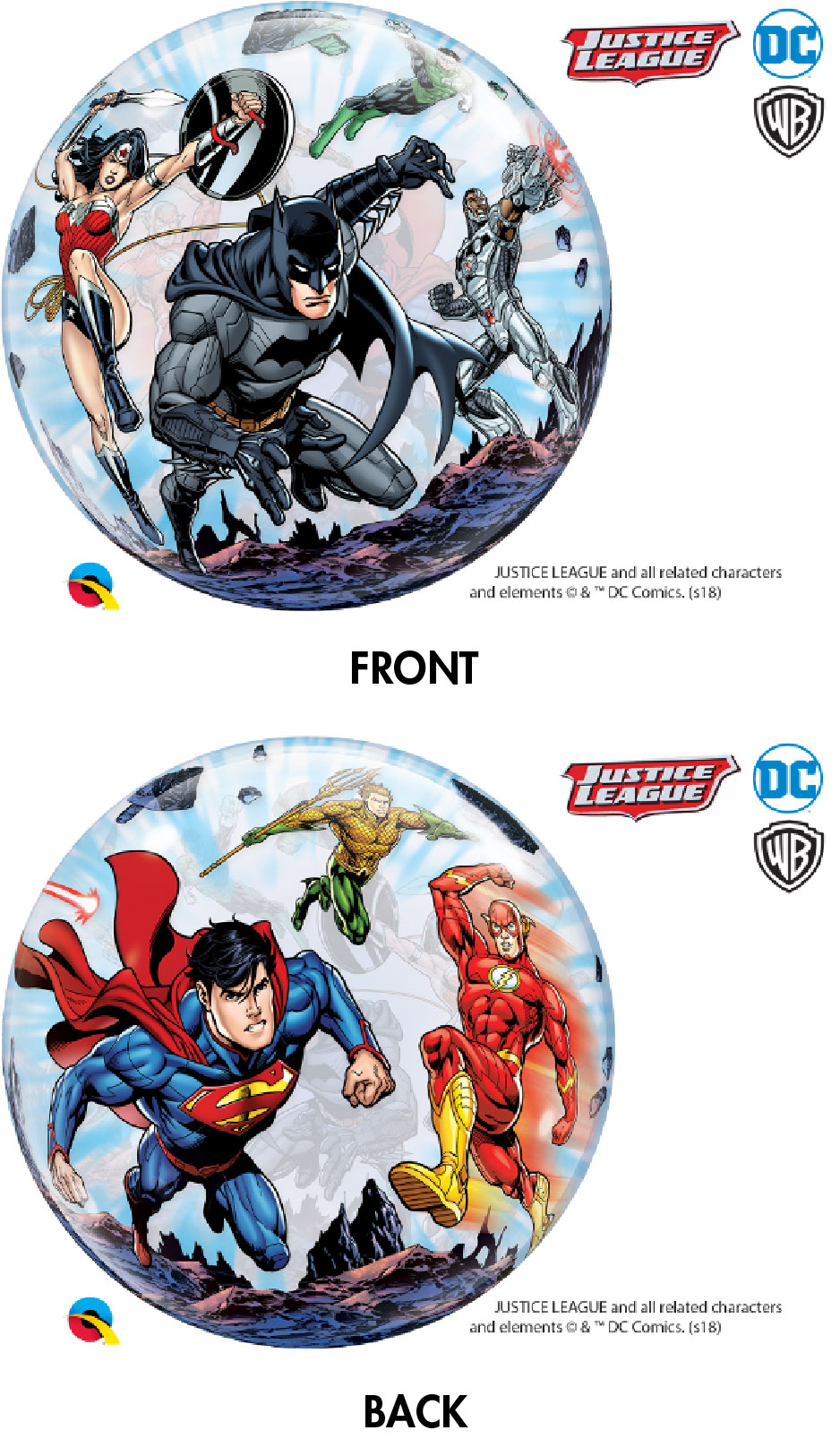 "22"" Bubble Balloon Justice League Super Heroes"