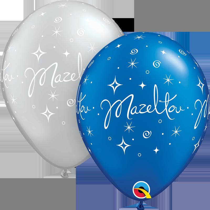 "11"" Mazel Tov Latex Balloons 50 Count"