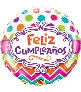 "18"" Feliz Cumpleaños Chevron Dots Foil Balloon"