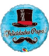 """18"""" Felicidades Papá Top Hat Foil Balloon"""