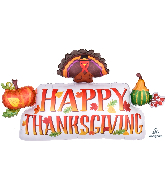 "36"" Jumbo Happy Thanksgiving Banner Foil Balloon"