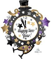 "35"" Jumbo Happy New Years Clock Foil Balloon"