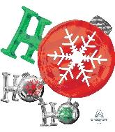 """28"""" Ho Ho Ho Ornament Foil Balloon"""