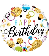 """18"""" Birthday Glitter Dots Foil Balloon"""