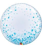 """24"""" Deco Blue Confetti Bubble Balloon"""