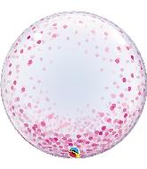 """24"""" Deco Pink Confetti Bubble Balloon"""