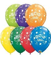 "11"" Bonne Fete Musical Latex Balloons 50 Count"