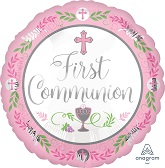 "18"" Communion Day Girl Pink Mylar Balloon"