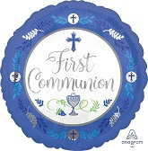"18"" Communion Day Boy Blue Mylar Balloon"