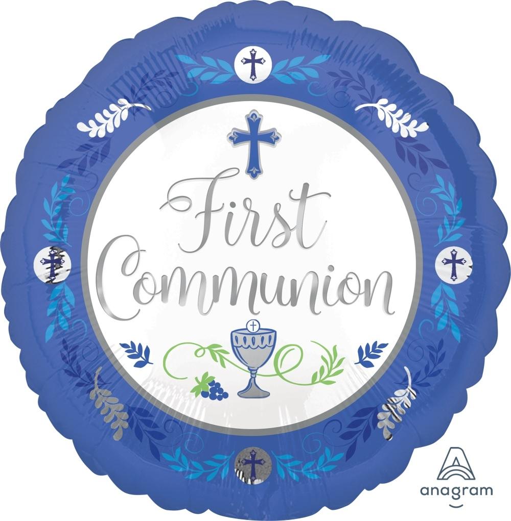 """18"""" Communion Day Boy Blue Mylar Balloon"""