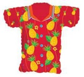 "20"" Red Hawaiian Pineapple Shirt Shape Balloon"