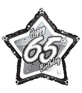 "18"" Black & Silver ""65"" Birthday Foil Balloon"