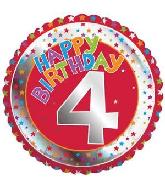 "18"" Children's Milestone ""4"" Happy Birthday Foil Balloon"