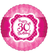 "18"" Perfect Pink ""30"" Happy Birthday Foil Balloon"