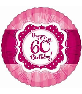 """18"""" Perfect Pink """"60"""" Happy Birthday Foil Balloon"""
