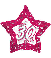 "18"" Pink & Silver ""30"" Happy Birthday Foil Balloon"